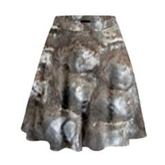 Festive Silver Metallic Abstract Art High Waist Skirt