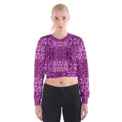 Lion In Purple Women s Cropped Sweatshirt