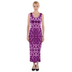 Lion In Purple Fitted Maxi Dress