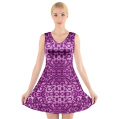 Lion In Purple V-Neck Sleeveless Skater Dress
