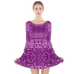 Lion In Purple Long Sleeve Velvet Skater Dress