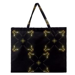 Festive Black Golden Lights  Zipper Large Tote Bag