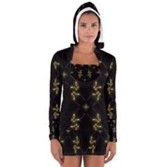 Festive Black Golden Lights  Women s Long Sleeve Hooded T Shirt