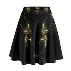 Festive Black Golden Lights  High Waist Skirt
