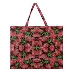 Floral Collage Pattern Zipper Large Tote Bag