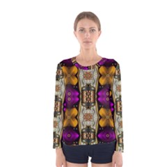Contemplative Floral And Pearls  Women s Long Sleeve Tee