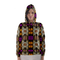 Contemplative Floral And Pearls  Hooded Wind Breaker (women)