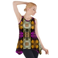 Contemplative Floral And Pearls  Side Drop Tank Tunic