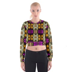 Contemplative Floral And Pearls  Women s Cropped Sweatshirt