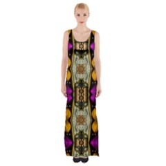 Contemplative Floral And Pearls  Maxi Thigh Split Dress