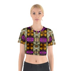Contemplative Floral And Pearls  Cotton Crop Top