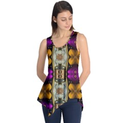 Contemplative Floral And Pearls  Sleeveless Tunic