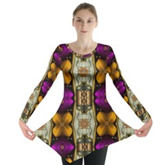 Contemplative Floral And Pearls  Long Sleeve Tunic