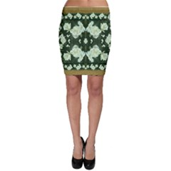 Roses And Flowers In Gold Bodycon Skirts
