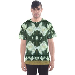 Roses And Flowers In Gold Men s Sport Mesh Tee