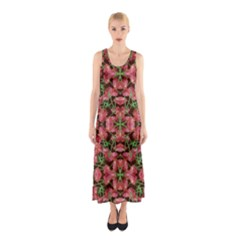 Floral Collage Pattern Sleeveless Maxi Dress