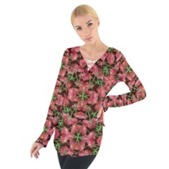 Floral Collage Pattern Women s Tie Up Tee
