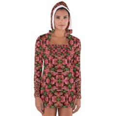 Floral Collage Pattern Women s Long Sleeve Hooded T-shirt