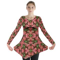 Floral Collage Pattern Long Sleeve Tunic
