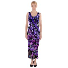 Blue Purple Shattered Glass Fitted Maxi Dress