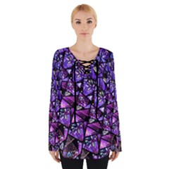 Blue Purple Shattered Glass Women s Tie Up Tee