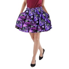 Blue Purple Shattered Glass A Line Pocket Skirt