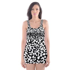 Black and White Blots  Skater Dress Swimsuit