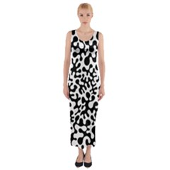 Black And White Blots  Fitted Maxi Dress