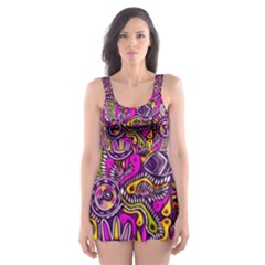 Purple Tribal Abstract Fish Skater Dress Swimsuit