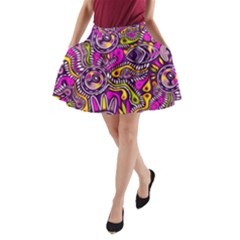 Purple Tribal Abstract Fish A-Line Pocket Skirt