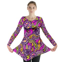 Purple Tribal Abstract Fish Long Sleeve Tunic