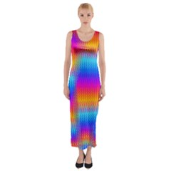 Psychedelic Rainbow heat waves Fitted Maxi Dress