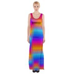 Psychedelic Rainbow heat waves Maxi Thigh Split Dress