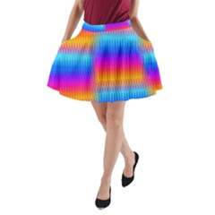 Psychedelic Rainbow Heat Waves A Line Pocket Skirt
