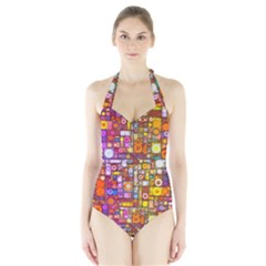 Circles City Women s Halter One Piece Swimsuit