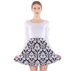 Black & White Damask Pattern Long Sleeve Velvet Skater Dress