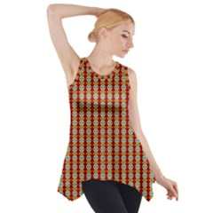 Christiane Anna  Small Pattern Red Yellow Green White Side Drop Tank Tunic
