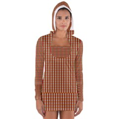 Christiane Anna  Small Pattern Red Yellow Green White Women s Long Sleeve Hooded T Shirt
