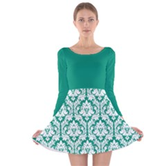 Emerald Green Damask Pattern Long Sleeve Velvet Skater Dress