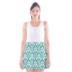 Emerald Green Damask Pattern Scoop Neck Skater Dress