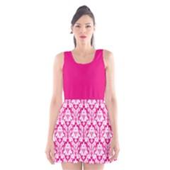 Hot Pink Damask Pattern Scoop Neck Skater Dress