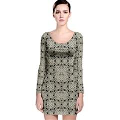Interlace Arabesque Pattern Long Sleeve Velvet Bodycon Dress