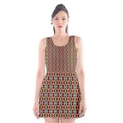 Christiane Yvette Small Pattern Red Yellow Green Scoop Neck Skater Dress