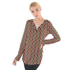Christiane Yvette Small Pattern Red Yellow Green Women s Tie Up Tee