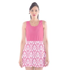Damask Pattern Pink And White Scoop Neck Skater Dress