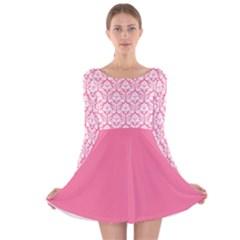 Damask Pattern Pink And White Long Sleeve Velvet Skater Dress