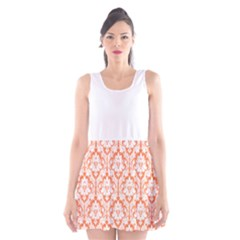 Nectarine Orange Damask Pattern Scoop Neck Skater Dress