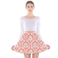 Nectarine Orange Damask Pattern Long Sleeve Velvet Skater Dress