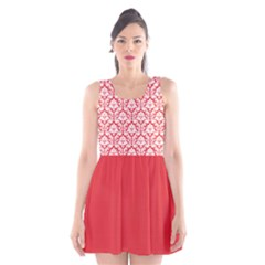 Damask Pattern Poppy Red And White Scoop Neck Skater Dress