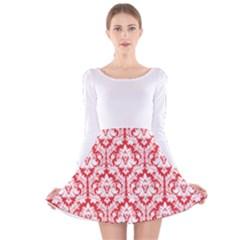 Damask Pattern Poppy Red And White Long Sleeve Velvet Skater Dress